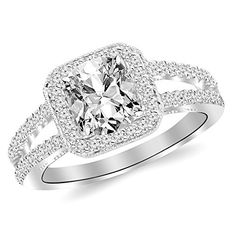 1.47 Cttw 14K White Gold Cushion Cut Designer Split Shank Halo Style With Milgrain Diamond Engagement Ring with a 1 Carat J-K Color I2 Clarity Center