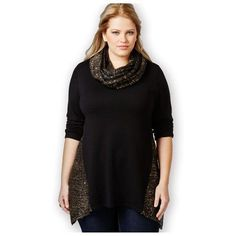 Style & Co Sweater 2X Sequined Scarf Sparkle Top Black Gold  - B2G1F #StyleCo #Sweater