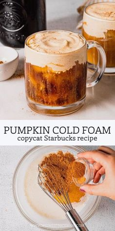"""It's time for a new contender in the """"Perfect Fall Coffee"""" category. Enter: Pumpkin Cream Cold Foam Cold Brew! Delicious cold brew coffee combines with an easy homemade cold foam recipe and the flavors of pumpkin spice in this delicious autumn drink! Coffee Drink Recipes, Starbucks Recipes, Coffee Drinks, Dessert Recipes, Desserts, Iced Coffee, Starbucks Drinks, Pumpkin Recipes, Fall Recipes"""