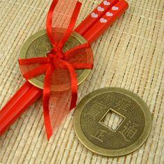 Asian Lucky Coins With Chopsticks as a Wedding Favor