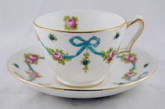 Crown Staffordshire Bone China England English Tea Cup and Saucer