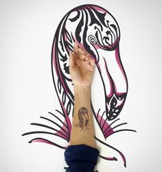 Flamingo Temporary Tattoo / Bird Temporary Tattoo by EasternCloud