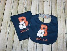 Bib and Burp Cloth Set Bull Dog Bib Puppy Bib by AddiesThings