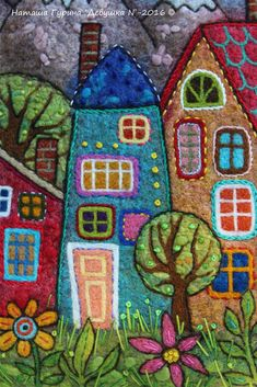 Love little houses Wool Applique Quilts, Wool Quilts, Felt Applique, Hand Embroidery Flowers, Wool Embroidery, Hand Embroidery Designs, Felted Wool Crafts, Felt Crafts, Applique Wall Hanging