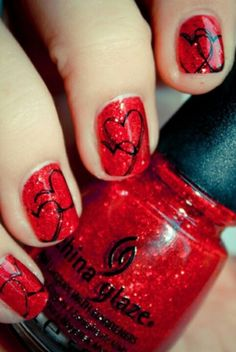 I am showcasing easy red nail art designs & ideas of for girls. Apply adorable red nail art patterns and enjoy the attractive look of your nails. Red Nail Art, Red Nails, Love Nails, Pretty Nails, Black Nails, Shiny Nails, Gorgeous Nails, Cute Nail Art Designs, Red Nail Designs