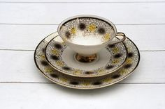 Rare Vintage German Tea Cup and Saucer Trio Set- Mid 20th century Black Dots with Yellow and Gold