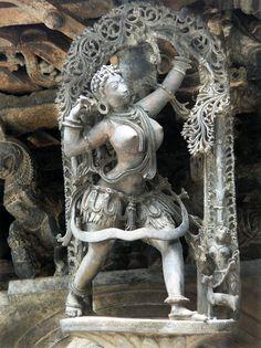 Huntress - Temple Sculpture from Belur, Karnataka, India (Photographic Print - Unframed))