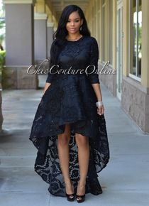 Marciano Black Embroidered High-Low Gown