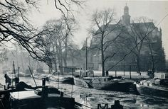 1960. Prinsengracht in Amsterdam. In the background the Noroderkerk. Photo Cas Oorthuys. #amsterdam #1960