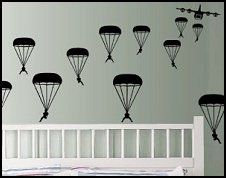 Military Paratroopers  Wall Decals army themed bedroom wall decorations