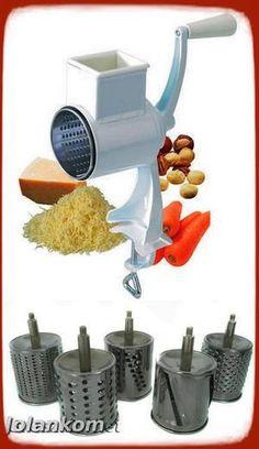 Maszynka do mielenia, tarcia bakalii, sera, czekolady, orzechów, ziemniaków itp z 5 bębnami - DUŻY ZESTAW RENOMOWANEJ  FIRMY Hoffner