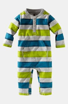 Tea Collection Stripe Henley Romper (Baby Boys) available at #Nordstrom