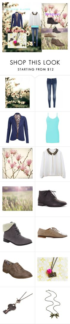 """Emma Ross-Jessie! Outfit"" by pixie-willow ❤ liked on Polyvore featuring Quiz, Miso, BKE, Trollied Dolly, Head Over Heels by Dune, skinny jeans, ankle cuff shoes and boyfriend blazers"