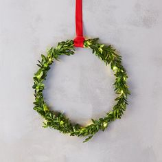 Delicate and unusual, this petite wreath of preserved boxwood comes wrapped in twinkling lights with a generous length of red ribbon to create hanging holiday displays.- A terrain exclusive- Preserved boxwood, cotton ribbon, warm white LED lights- Indoor or sheltered outdoor use- Avoid moisture and direct sunlight- Natural materials; slight variance in color may occur- Ribbon: 6' total length; 3' when doubled for hanging- Two 2032 batteries (replaceable); On/Off switch- 48-72 hour battery…