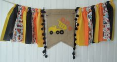 Construction, Dump Truck, Fabric Banner, Birthday, Highchair, Cake Smash, Nursery, Shower, Party Decor, Photo Shoot, Back Drop, Bunting by SarwoldSeeds on Etsy
