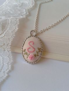 Custom initial & floral hand embroidery pendant by ConeBomBom, $20.00