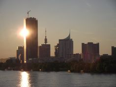 Sunset reflects off the DC Towers, Vienna Towers, Austria, New York Skyline, Sunset, Travel, Vienna, Viajes, Tours, Sunsets