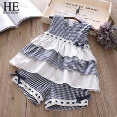 HE Hello Enjoy/Летняя Одежда для девочек комплекты Детская одежда модная одежда для девочек топ + полосатые шорты костюмы 2018 детская одежда 2 шт.