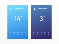 Daily UI #037 A couple mobile screens for a simple weather interface :)