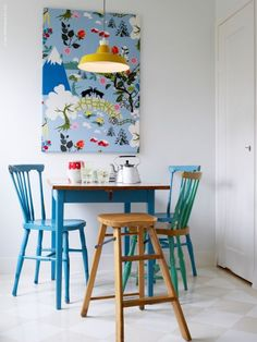 ikea - pops of colour, specific use for small space (and fold away chair also cool idea)