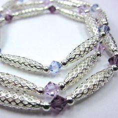 Purple Swarovski Crystal Stretch Bracelets by CatjuHandmadeJewelry, $30.00