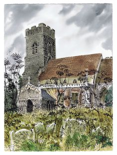 "robert-hadley: "" Huntingfield Church by David Gentleman "" Art Watercolor, Watercolor Landscape, Landscape Art, Landscape Paintings, Landscapes, Landscape Drawings, Building Illustration, Illustration Art, Ink Illustrations"