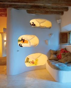 "Kids beds in mini-caves. Cave House by Alexandre de Betak in Majorca, Spain. Check out these natural home design ideas, courtesy of this stone house by Alexandre de Betak. Hidden away in a small village in Majorca, ""Cave House"" is Modern Bunk Beds, Cool Bunk Beds, Kids Bunk Beds, Unique Bunk Beds, Alexandre De Betak, Deco Kids, Earthship, Kid Spaces, Small Spaces"