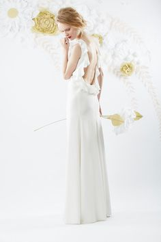 Custom made white silk backless dress with frill by OlwenBourke