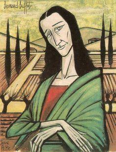 f) Joconde Bernard Buffet [Jean Ache] (Gioconda / Mona Lisa) Illustrator, Mona Lisa Parody, Renaissance Artists, Hippie Art, Italian Artist, Cultura Pop, French Artists, Magazine Art, Oeuvre D'art