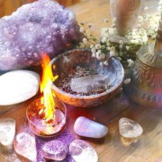 Dramatic crystal altar with flaming bowl