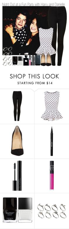 """Night Out at a Fun Party with Harry and Danielle"" by elise-22 ❤ liked on Polyvore featuring Topshop, Christian Louboutin, Stila, Giorgio Armani, NARS Cosmetics, Butter London and ASOS"