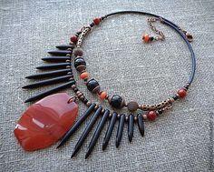Купить Колье с сердоликом и агатом, серия ЭТНИКА - комбинированный, рыжее колье, рыжее, чёрно-рыжее