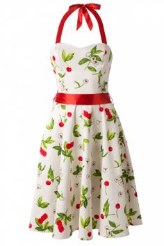 Hearts & Roses - 50s Cream Cherry Blossom swing halter dress