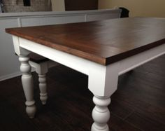 Dark Walnut Farm House Table with Legs! Up To Length! Country White Kitchen, White Cabin, Walnut Furniture, Painted Furniture, Rustic Farmhouse Table, Dark Walnut Stain, Pine Table, Rustic Design, Dining Table
