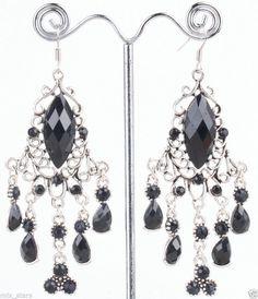 1 pair Vintage Black Silver Tone STONE Drop Luxury Floral Dangle Earrings ER66