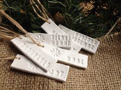 White Clay CHRISTMAS Gift Tags by SunflowersAndLillies on Etsy, £4.50