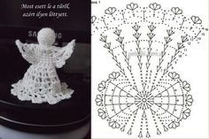 Lady With Crochet Male Aniolki Crochet Snowflake Pattern, Crochet Motifs, Christmas Crochet Patterns, Holiday Crochet, Crochet Snowflakes, Thread Crochet, Filet Crochet, Crochet Crafts, Crochet Doilies