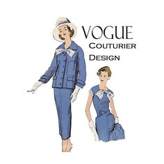 Hold for customer Vogue Couturier Design 972 Size 16 Bust 36  Dress Jacket pattern 50s designer fashion suit High fashion dress with jacket