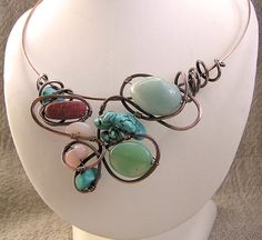 Sea Spirit Mixed Gemstone and Copper Necklace by WireMoon on Etsy