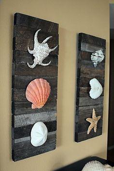 Beach Decor Shells on driftwood for Coastal Decor. via Etsy.
