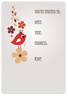 bird birthday themed kids party invitation downloadable free printable