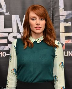 Minty-green shade:Bryce Dallas Howard donned a cheery toucan-patterned top for Coffee Talks: Actors at the LA Film Festival on Saturday