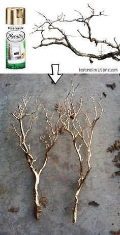 #10. Spray paint branches for a pretty centerpiece or home decor idea. -- 29…