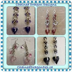 Created by Chained Dragon Designs. #earings #chainmail #ChainedDragonDes.com #jewelry