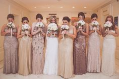 Sparkly gold bridesmaid dresses. Hotel Monteleone New Orleans. Teresa Terry Photography.