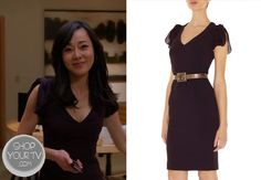 Karen (Yunjin Kim) wears this dark purple dress with flowy split sleeves in this week's episode of Mistresses.