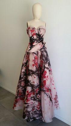 #Les Habitudes #Los Angeles 2 piece retro silk organdy # watercolor cherry blossom print Gorgeousness!
