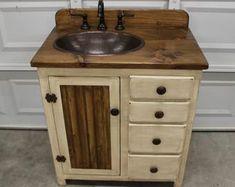 Rustic Farmhouse Vanity - Copper Sink - Antique white - Bathroom Vanity - Bathroom Vanity with Sink - Rustic Vanity - Farmhouse Vanity Farmhouse Sink Vanity, Rustic Vanity, Rustic Bathroom Vanities, White Vanity Bathroom, Vanity Sink, Bathroom Sinks, Kohler Sink, Copper Bathroom, Barnwood Vanity