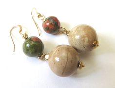 Unikite and Jasper Bohemian Earrings - Brown Gemstone Ball Earrings - Gold Unikite Earrings - Earthtones and Gold Fill - Rustic Drop Earring by JemsbyJBandCompany on Etsy
