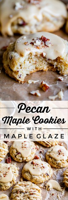 Pecan Maple Cookies with Maple Glaze from The Food Charlatan. These Maple Cookies are studded with pecans and topped with an irresistible maple glaze! The cookies are unique because they are more like Easy Cheesecake Recipes, Easy Cookie Recipes, Soft Food Recipes, Maple Dessert Recipes, Holiday Cookie Recipes, Pecan Recipes, Dessert Food, Unique Recipes, Maple Glaze